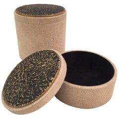 Two Sculptural Bronze Lid on Shagreen Boxes