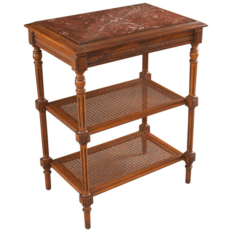French 19th Century Louis XVI Cane and Walnut Table