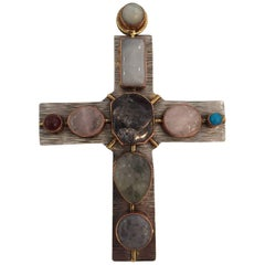 Large Cross Made of Three Metals and Stones