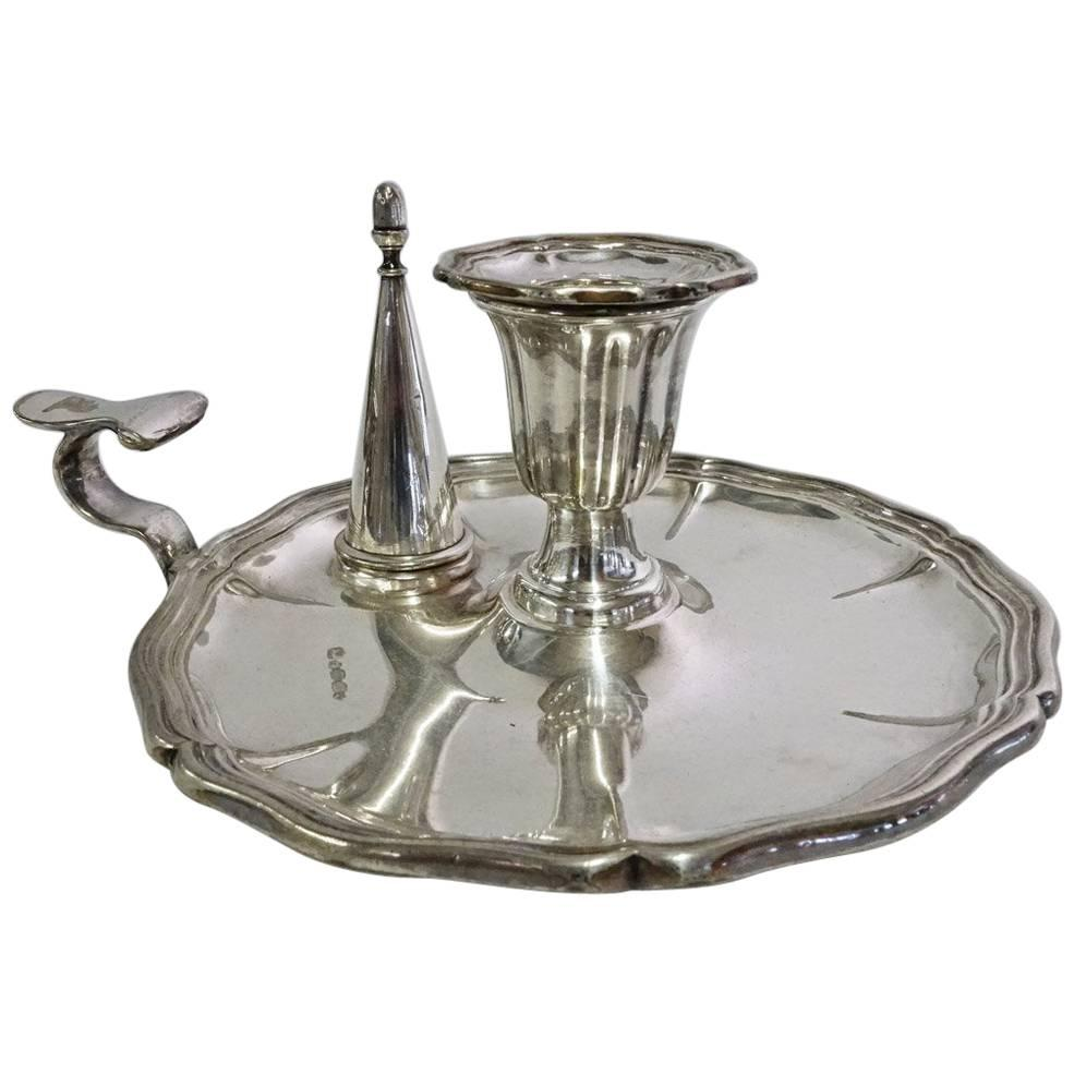 Early 19th Century English Georgian Silver Plated Chamber Candle Holder/Snuffer