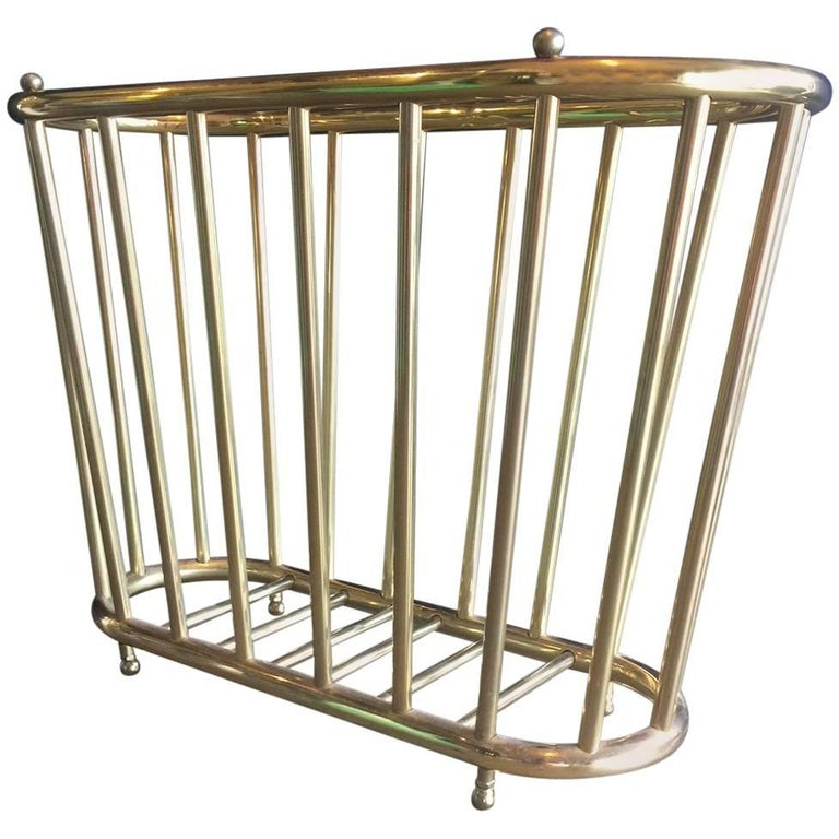 "Vintage Brass ""Spoke Style"" Magazine Rack For Sale"