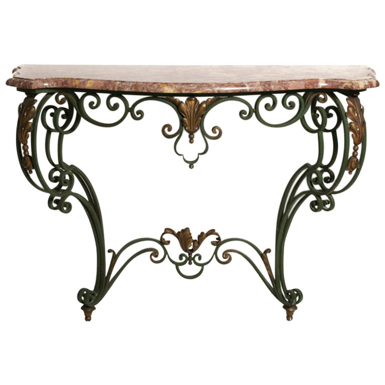 French Iron-and-Marble Console Table