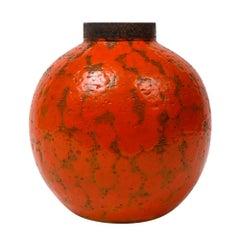 Raymor Bitossi Vase, Ceramic Orange Brown, Signed