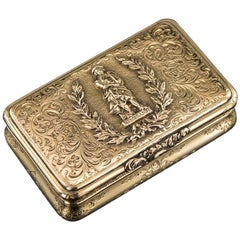 German 14-Karat Solid Gold Rembrandt Snuff Box, Charles Collins, circa 1840