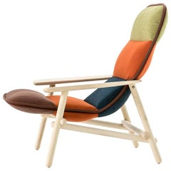 Moroso Lilo Lounge Chair by Patricia Urquiola in Multi-Color Fabric & Solid Wood