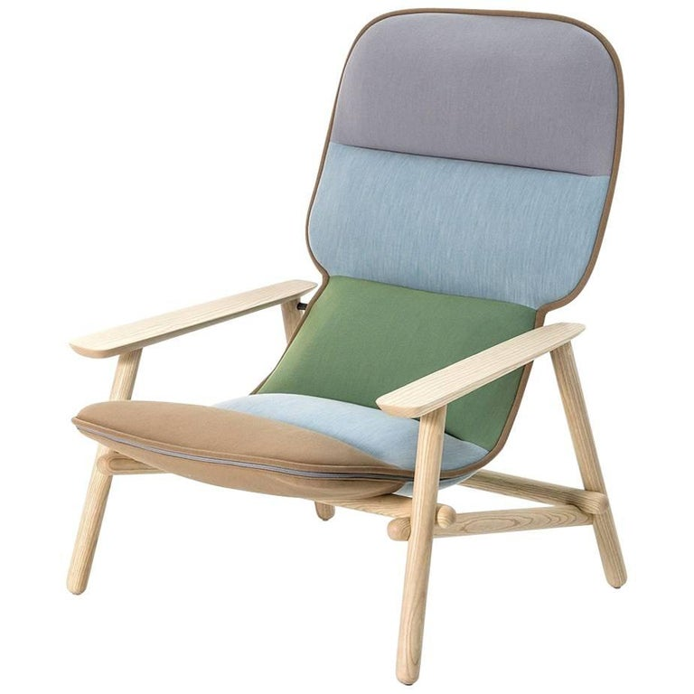 Moroso Lilo Lounge Chair by Patricia Urquiola in Tufted Fabric and Solid Wood