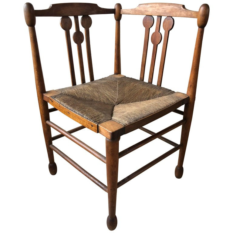 Country French Rush Seat Corner Chair 1940s At 1stdibs