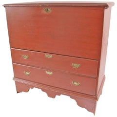 New England Queen Anne Red Painted Two-Drawer Blanket Chest