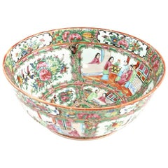 19th Century Chinese Export Porcelain Rose Medallion Punch Bowl
