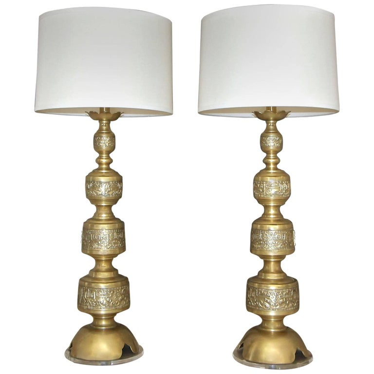 Pair of James Mont Style Asian Inspired Brass Table Lamps