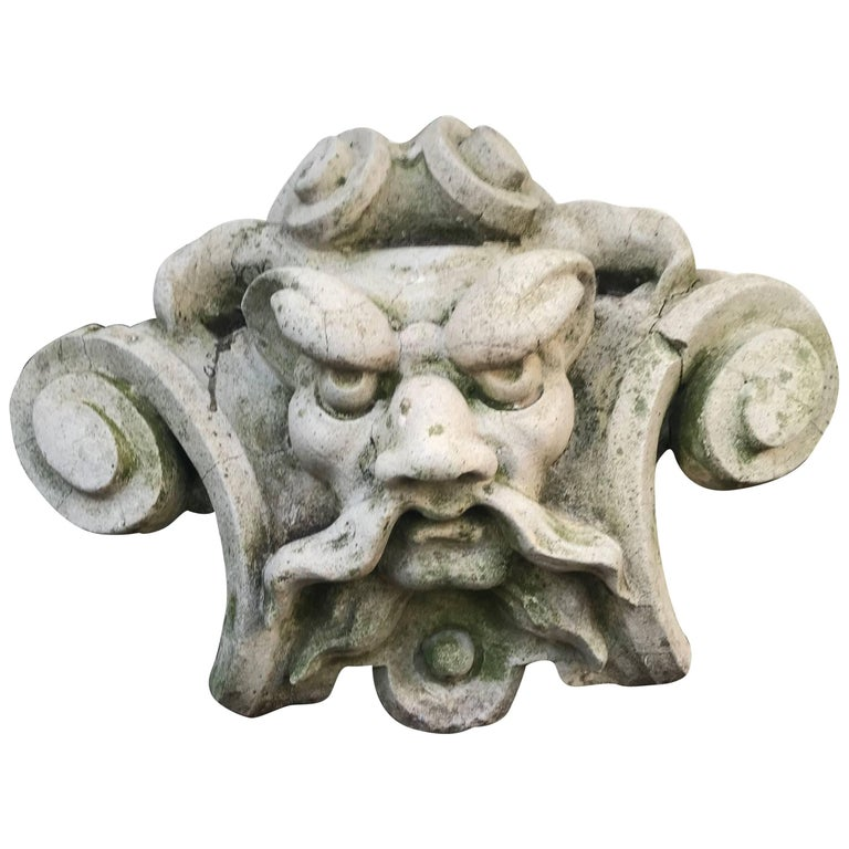 Antique Characteristic and Stylized Facade Ornament Mask of Poseidon