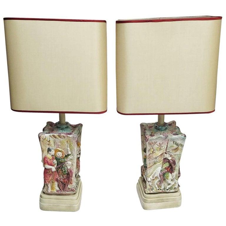 Midcentury Don Quixote Ceramic Table Lamps For Sale