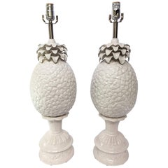 Sculptural White Ceramic Pineapple Table Lamps