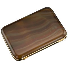 Antique French Agate and 18-Karat Gold Cigarette Case, Paris, circa 1900