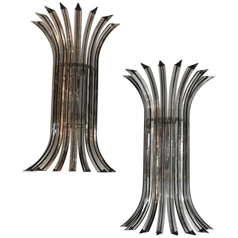 Pair of Mid-Century Modern Italian Murano Triedri Glass Sconces by Venini