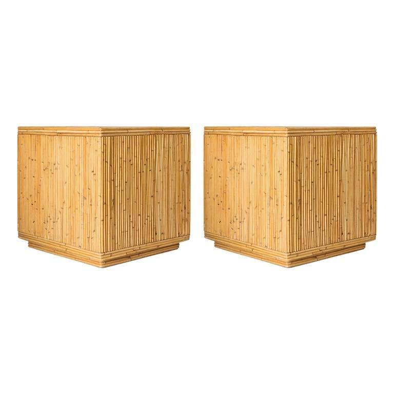 Pair of Bamboo Cube Tables with a Concentric Border Inlay Detail For Sale
