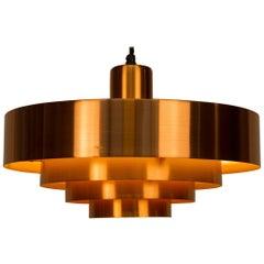 Solid Copper Pendant Lamp 'Roulet', Jo Hammerborg for Fog & Mørup Denmark, 1963