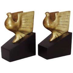 Pair of American Art Deco Brass and Black Lacquer Eagle Architectural Bookends