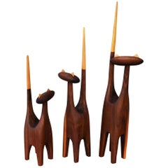 Large-Scale Mid-Century Inspired Hand-Carved Walnut & Beech Family of Three Cats