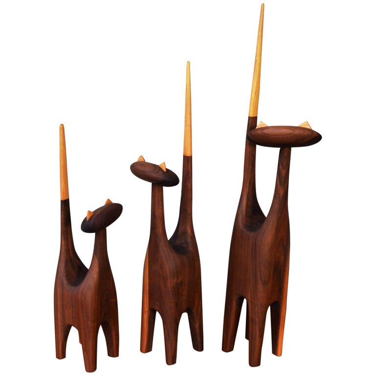 Large-Scale Mid-Century Inspired Hand-Carved Walnut & Beech Family of Three Cats For Sale
