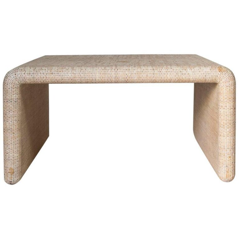 Lacquered Linen Waterfall Cocktail Table For Sale