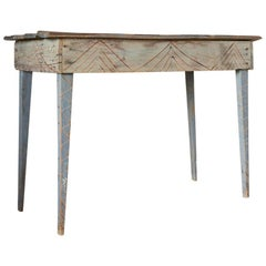 Primitive Blue Painted South Western Style Console with Geometric Carvings