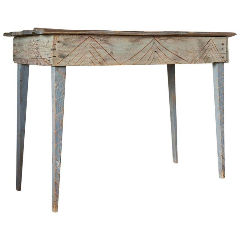 Primitive Blue Painted South Western Style Console with Geometric Carvings For Sale
