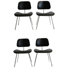 Eames Molded Plywood Dining Chairs with Chrome Legs for Herman Miller circa 2000