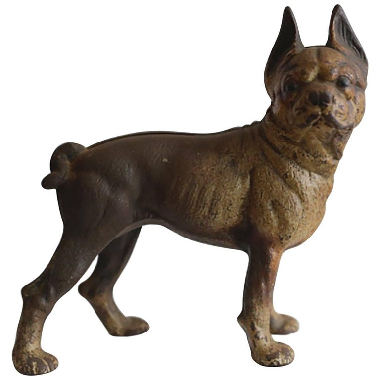 1930s Cast Iron Hubley Boston Terrier Door Stop