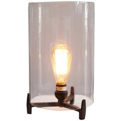 Cylindercal Glass Steel Tripod Lamp