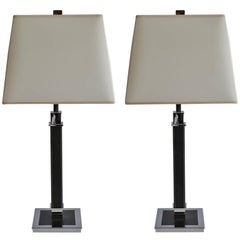 Pair of Ralph Lauren Black Leather and Polished Nickel Table Lamps