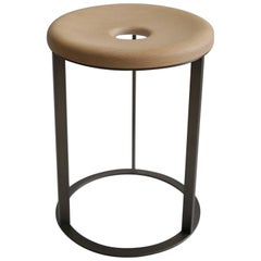 Round Wood and Metal Side Table or Stool Made in Italy