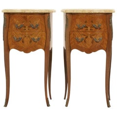 French Inlaid Marquetry Marble-Top Nightstands