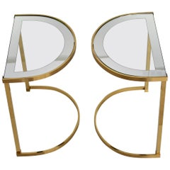 Pair of Italian 1970s Brass Demilune Side Tables with Mirror Bordered Glass