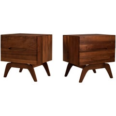 Pair of Midcentury Solid Walnut Nightstands