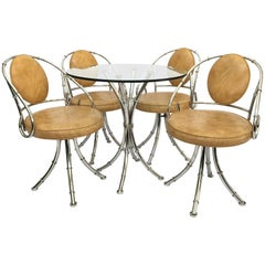 Midcentury Hollywood Regency Chrome Bamboo Bistro Dining Set