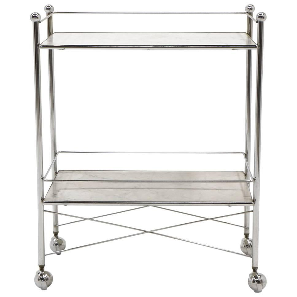 1960s serving or bar cart chrome with white marble shelves on rh 1stdibs com Metal Shelving shelving on casters for library