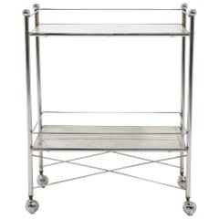 1960s Serving or Bar Cart, Chrome with White Marble Shelves on Casters
