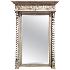 Large French Grey Painted Mirror