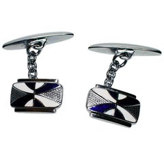 English Art Deco Men's Enamel Pair of Cuff Links