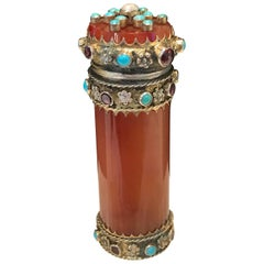 French Carved Agate, Silver and Jeweled Vesta or Match Safe