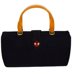 Art Deco Handbag with Butterscotch Bakelite Handles
