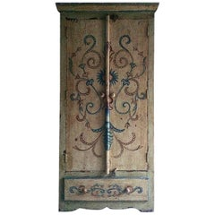 Antique Cupboard Wardrobe French Painted Provincial Style Seriously Distressed