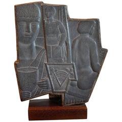 "Art Deco Modernist Slate Sculpture John McKenzie ""Man with Goblet"", circa 1940"