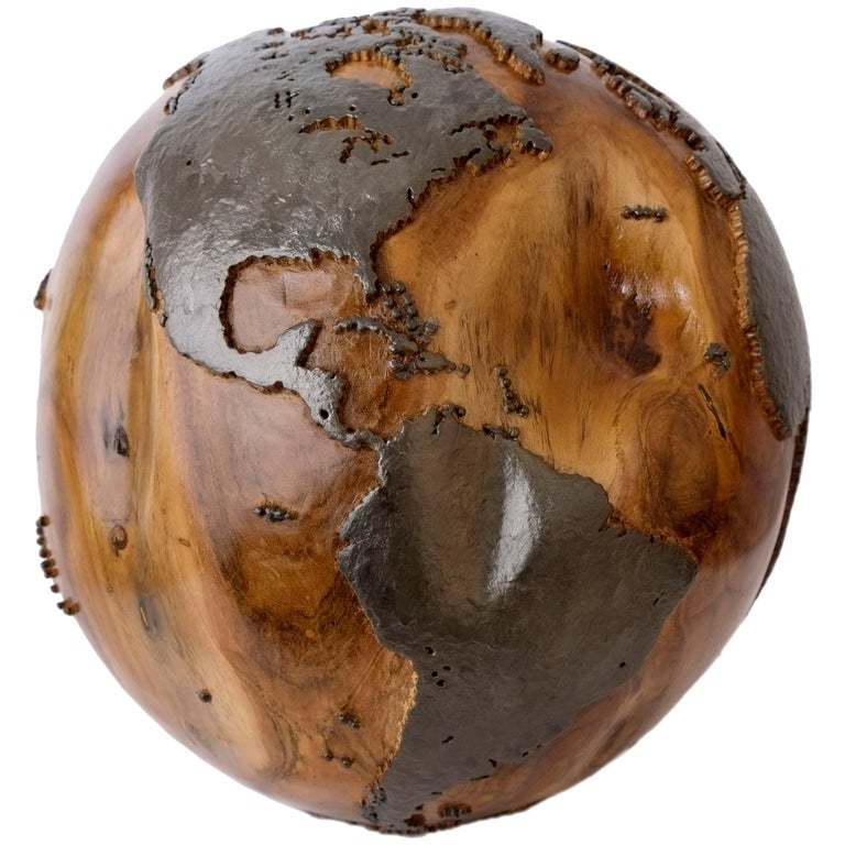 Classic Metal, Handcrafted Teak Globe in Iron and Natural, 30 cm Saturday Sale