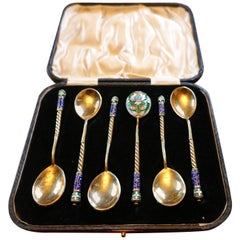 Good Set of Six Russian Imperial Silver Polychrome Cloisonné Enamel Spoons