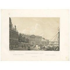 Antique Print of Christiansborg Slot, Denmark
