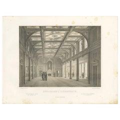 Antique Print of the Exchange-Hall in Copenhagen, 'Denmark'