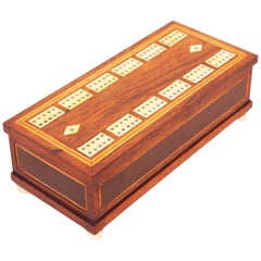 Antique Regency Rosewood Domino Games Box
