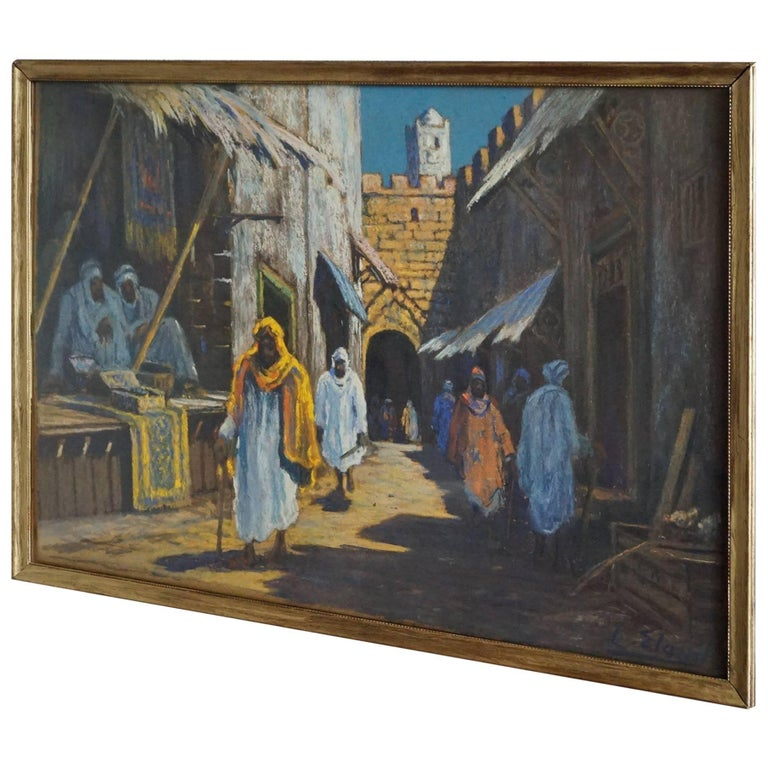 Antique & Serene Arab Market / Bedouin Painting on Board by Leo Eland circa 1910 For Sale